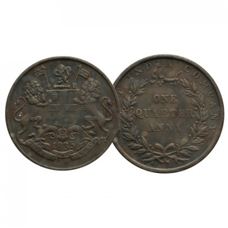 "1835 (m) * 1/4 Anna India Británica ""East India Company"" (KM 446.2) EBC"