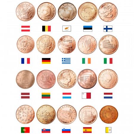MIX * Lote 20 x 5 Cents Euro Austria -> Vaticano UNC