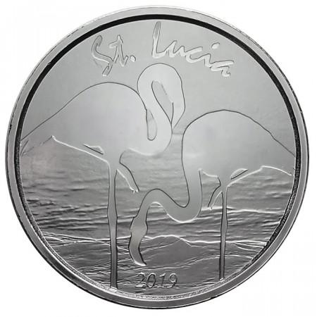 "2019 * 2 Dollars Plata 1 OZ Eastern Caribbean - Santa Lucia ""Flamingo"" FDC"