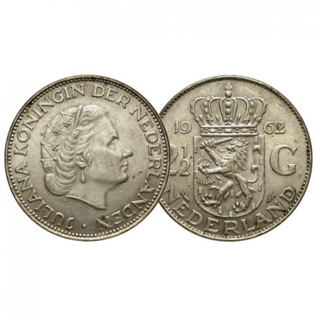 "1962 * 2-1/2 (2,5) Gulden Plata Holanda - Países Bajos ""Juliana"" (KM 185) EBC"
