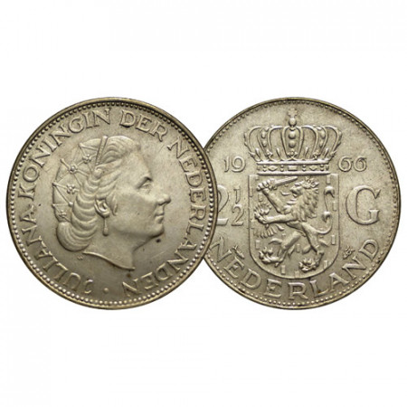"1966 * 2-1/2 (2,5) Gulden Plata Holanda - Países Bajos ""Juliana"" (KM 185) MBC+"