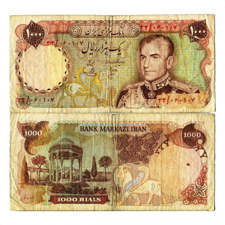 """ND (1974-79) * Billete Irán 1000 Rials """"Shah M Reza Pahlavi"""" (p105a) BC"""