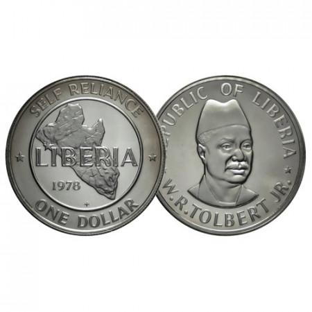 "1978 FM * 1 Dollar Liberia ""Liberia Map - William Tolbert"" (KM 32) PROOF"