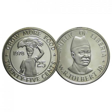 "1978 FM * 25 Cents Liberia ""Serie F.A.O. - William Tolbert"" (KM 30) PROOF"