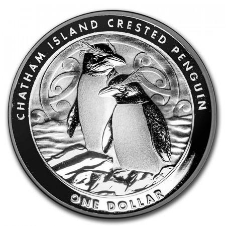 "2020 * 1 Dollar Plata 1 OZ Nueva Zelanda ""Chatham Island Crested Penguin"" FDC"