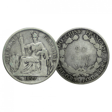 "1899 A * 20 Cents Plata Indochina Francesa - French Indochina ""Seated Liberty"" (KM 10) BC"
