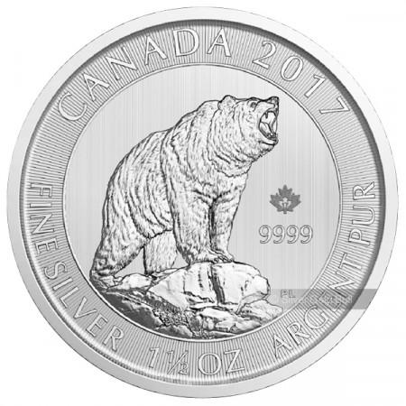 "2017 * 8 Dólars Plata 1,50 (1-1/2) OZ Canadà ""Oso Grizzly"" FDC"