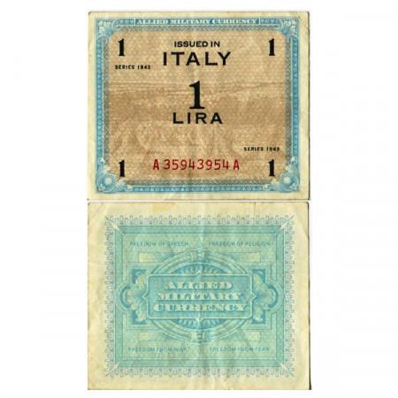 """1943 * Billete Italia 1 AM Lira """"Ocupación Estadounidense"""" (A 1100 pM10b) MBC+"""