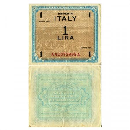 """1943 * Billete Italia 1 AM Lira """"Ocupación Estadounidense"""" (A 1101 pM10a) MBC"""