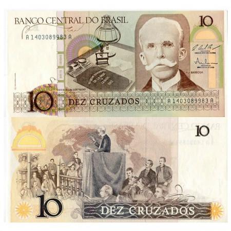 "ND (1986-87) * Billete Brasil 10 Cruzados ""Rui Barbosa"" (p209b) SC"