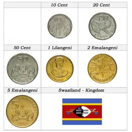 "2015 * Serie 6 Monedas Suazilandia ""Emalangeni - Nuevo Diseño"" UNC"