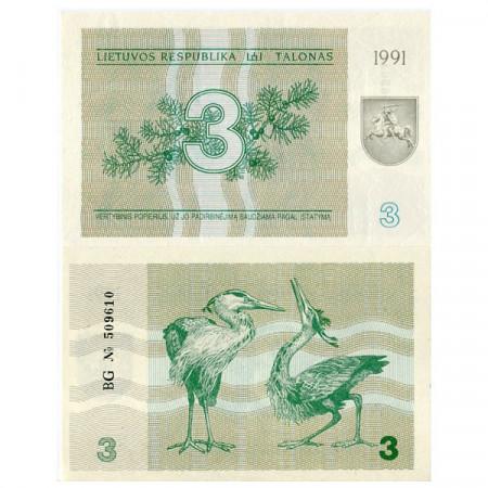 """1991 * Billete Lituania 3 Talonas """"Gray Herons"""" (p33b) SC"""