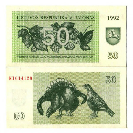 "1992 * Billete Lituania 50 Talonas ""Black Grouses"" (p41) SC"
