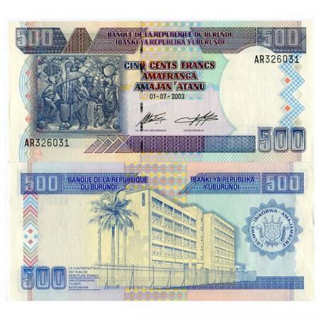 """2003 * Billete Burundi 500 Francs """"Native Painting"""" (p38c) SC"""