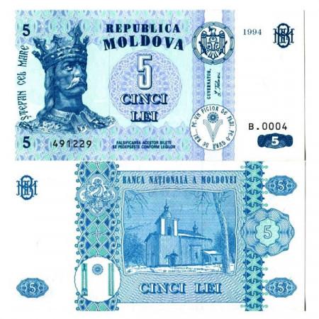 "1994 * Billete Moldavia 5 Lei ""Stephen the Great"" (p9a) SC"