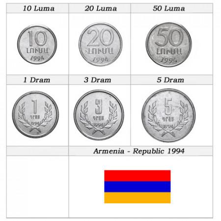 """1994 * Serie 6 Monedas Armenia """"Diram - República"""" UNC"""