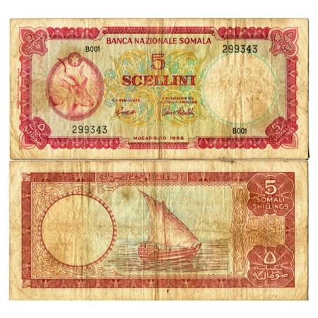 """1966 * Billete Somalia 5 Scellini=5 Shillings """"Antelope"""" (p5a) BC+"""