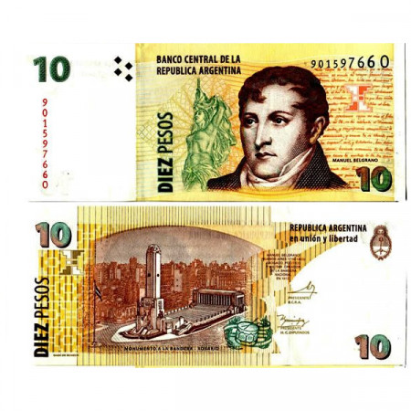 "ND (2003) * Billete Argentina 10 Pesos ""General M Belgrano"" (p354a) SC"