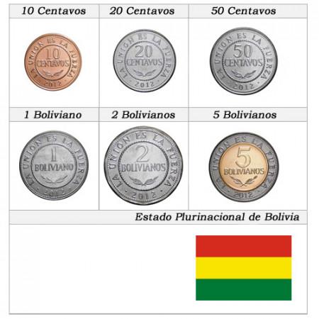 """2012 * Serie 6 Monedas Bolivia """"Bolivianos - Estado Plurinacional de Bolivia"""" UNC"""