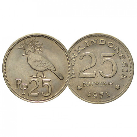 "1971 * 25 Rupiah Indonesia ""Victoria Crowned Pigeon"" (KM 37) SC"