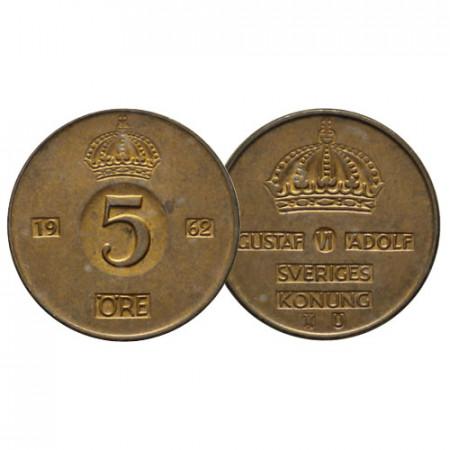 """1952-71 * 5 Ore Suecia """"Gustavo VI Adolfo - Big Value"""" (KM 822) EBC"""