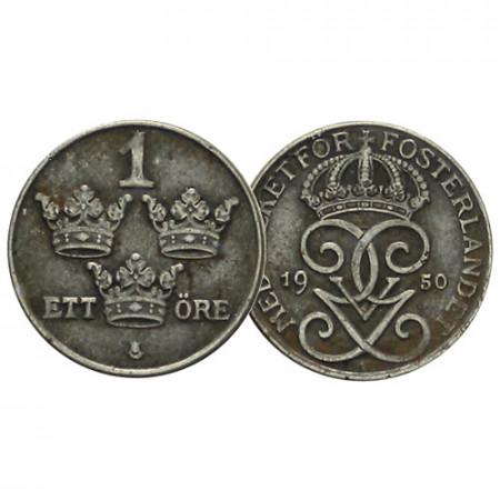 """1950 * 1 Ore Suecia """"Gustavo V - The Three Crowns"""" (KM 810) MBC"""