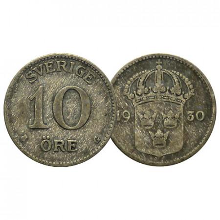 """1909-42 * 10 Ore Plata Suecia """"Gustavo V - Escudo"""" (KM 780) BC/MBC"""