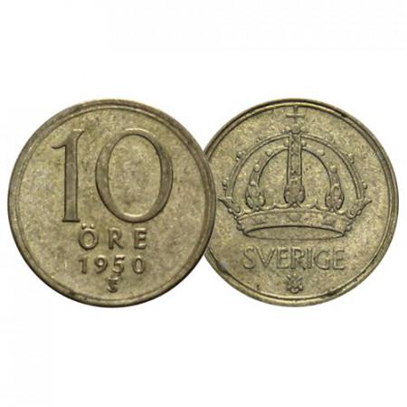 """1942-50 * 10 Ore Plata Suecia """"Gustavo V - Large Crown"""" (KM 813) BC/MBC"""