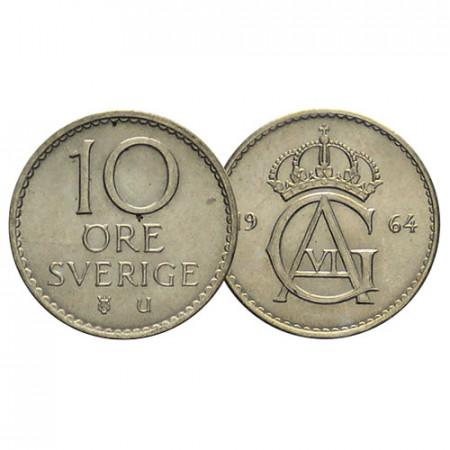 "1962-73 * 10 Ore Plata Suecia ""Gustavo VI Adolfo - Crowned Monogram"" (KM 835) MBC"