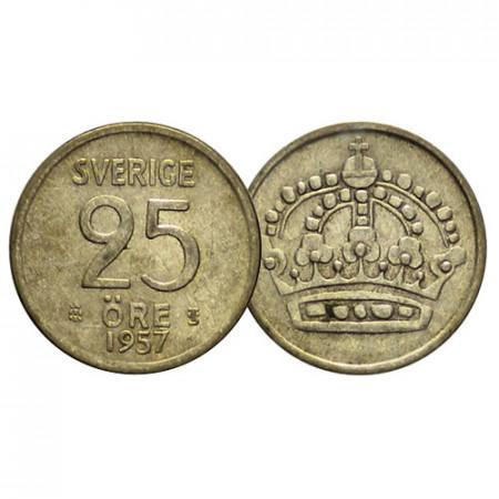 """1957 * 25 Ore Plata Suecia """"Gustavo VI Adolfo - Large Crown"""" (KM 824) MBC+"""