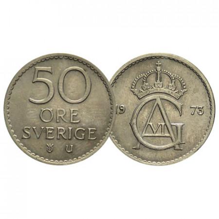 "1973 * 50 Ore Suecia ""Gustavo VI Adolfo - Crowned Monogram"" (KM 837) EBC"
