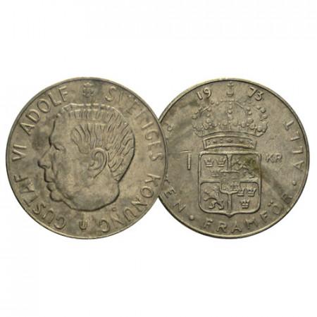 "1973 * 1 Krona Suecia ""Gustavo VI Adolfo - Crowned Coat"" (KM 826a) MBC"
