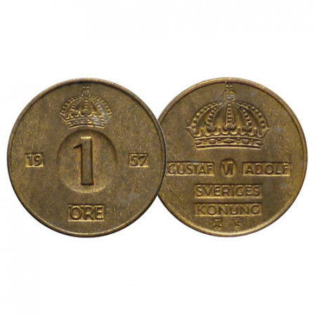 """1952-71 * 1 Ore Suecia """"Gustavo VI Adolfo - Big Value"""" (KM 820) EBC"""