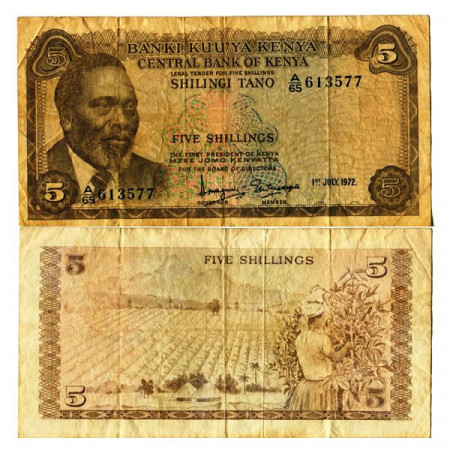 "1972 * Billete Kenia 5 Shillings ""President MJ Kenyatta"" (p6c) BC"