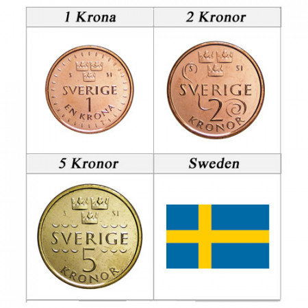 "2016 * Serie 3 Monedas Suecia ""Kronor - New Design"" UNC"