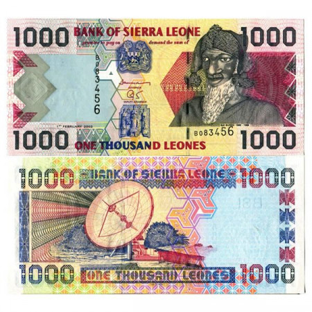 """2002 * Billete Sierra Leona 1000 Leones """"Bai Bureh"""" (p24a) SC"""
