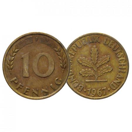 """1967 J * 10 Pfennig ALEMANIA Federal """"Oak Seedling"""" (KM 108) MBC"""