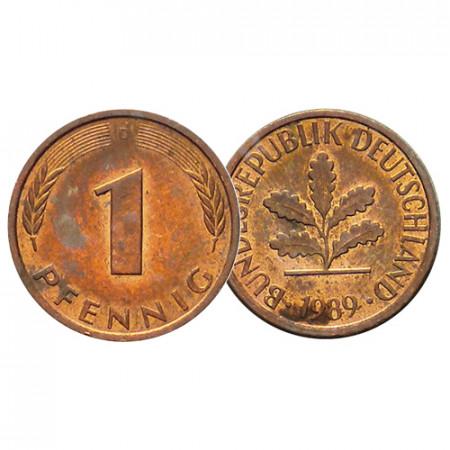 """1989 D * 1 Pfennig ALEMANIA Federal """"Oak Seedling"""" (KM 105) MBC"""
