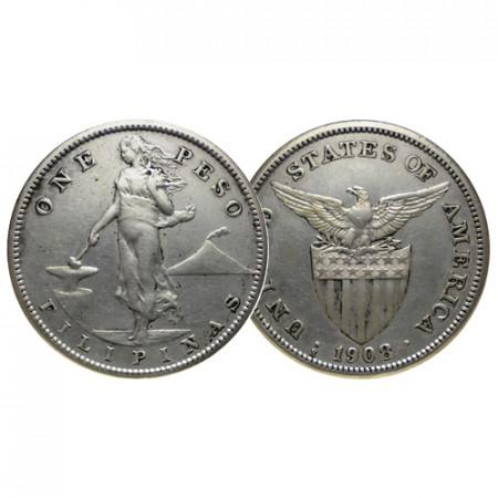 """1908 S * 1 Peso Plata Filipinas """"Administración Estadounidense"""" (KM 172) MBC/EBC"""
