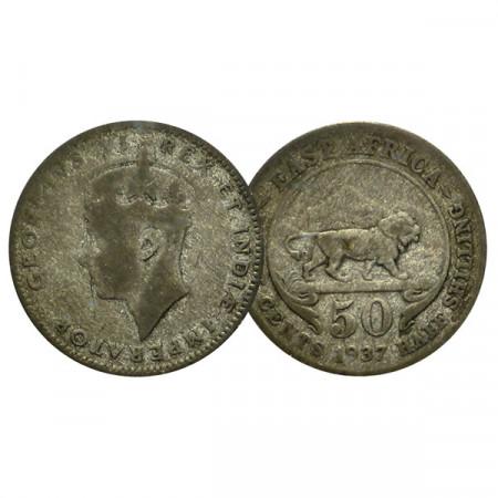 "1937 H * 50 Cents - 1/2 Shilling África Oriental Británica - British East Africa ""Jorge VI"" (KM 37) BC"