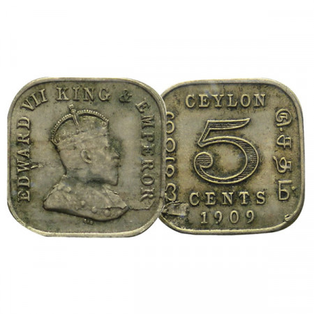 "1909 * 5 Cents Ceylon ""Eduardo VII"" (KM 103) MBC"