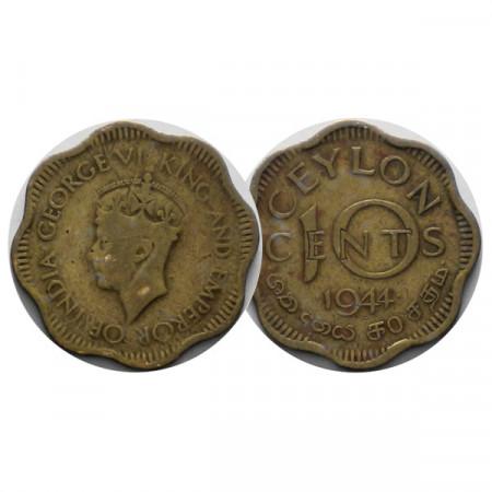 """1944 * 10 Cents Ceylon """"Jorge VI"""" (KM 118) cMBC"""