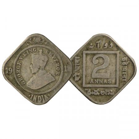 "1918 * 2 Annas India Británica ""Jorge V"" (KM 516) BC/MBC"