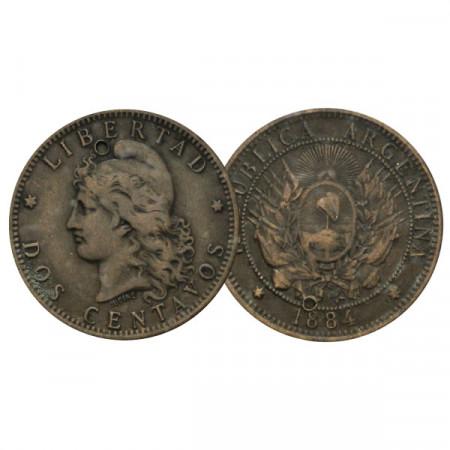 """1884 * 2 Centavos Argentina """"Libertad"""" (KM 33) MBC"""