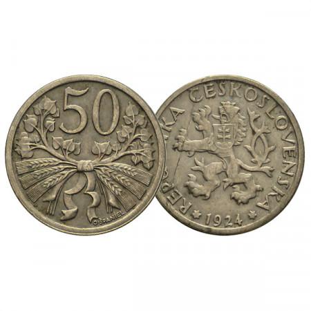 """1921-31 * 50 Haleru Checoslovaquia """"Linden Branches"""" (KM 2) MBC-Circ"""