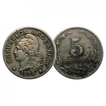 """1898 * 5 Centavos Argentina """"Libertad"""" (KM 34) MBC"""