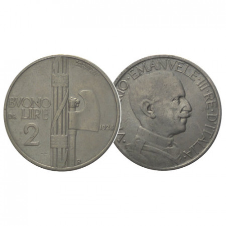 "1924 * Buono da 2 Lire Italia Reino ""Víctor Manuel III - Fascio"" (KM 63) BC/MBC"