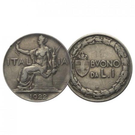 "1922 * Buono da 1 Lira Italia ""Víctor Manuel III - Italia Seduta"" (KM 62) BC"