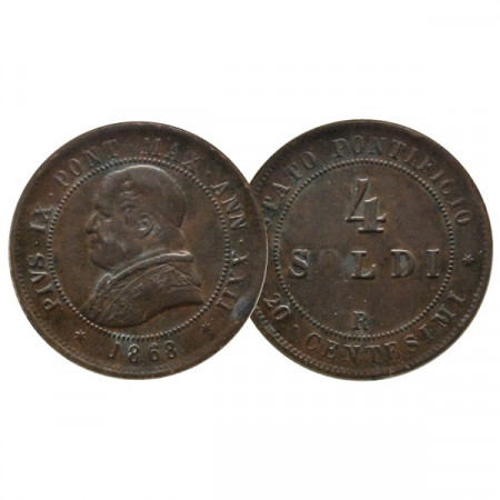 "1868 R XXII * 4 Soldi (20 Centesimi) Estados Pontificios ""Pío IX"" (KM 1374) MBC"