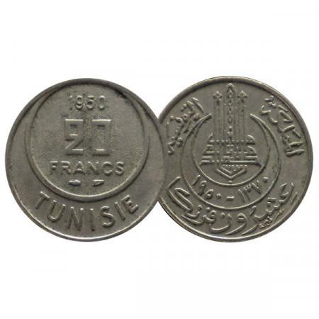 "1370 (1950) * 20 Francs Túnez ""Muhammad VIII"" (KM 274) MBC"